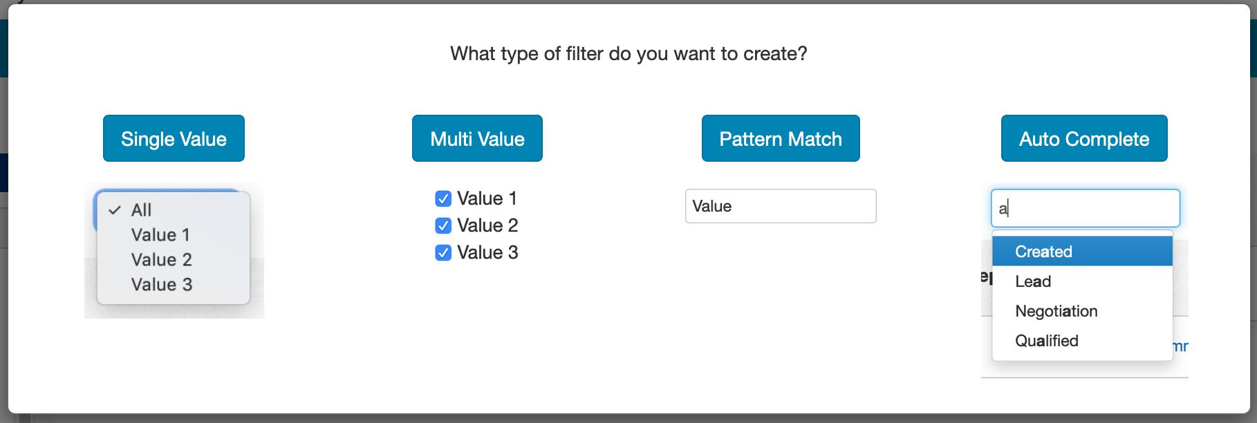 Auto Complete Filter Setup